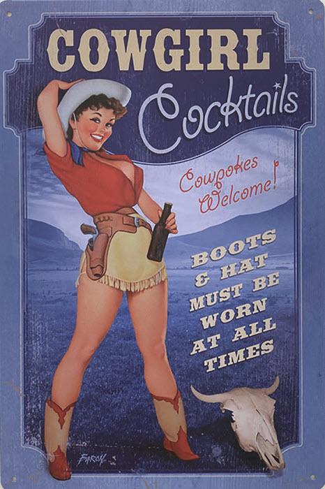 Retro metalen bord vlak - Cowgirl cocktails