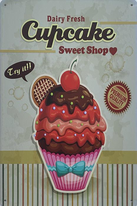 Retro metalen bord vlak - Cupcake sweet shop green