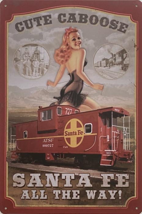 Retro metalen bord vlak - Cute caboose