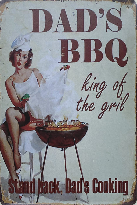 Retro metalen bord vlak - Dad's BBQ