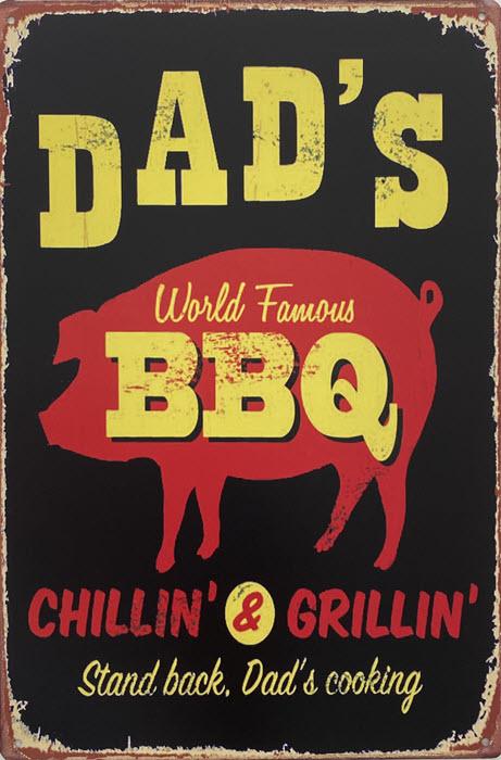 Retro metalen bord vlak - Dad's world famous BBQ