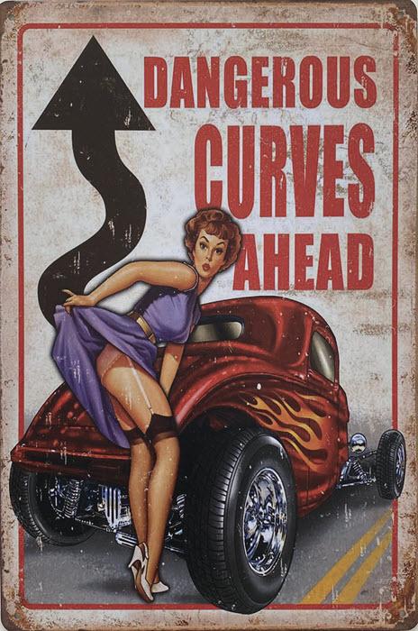 Retro metalen bord vlak - Dangerous curves ahead