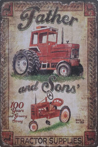 Retro metalen bord vlak - Father and sons' tractor supplies