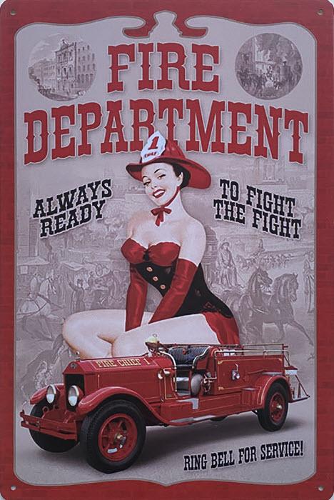 Retro metalen bord vlak - Fire department