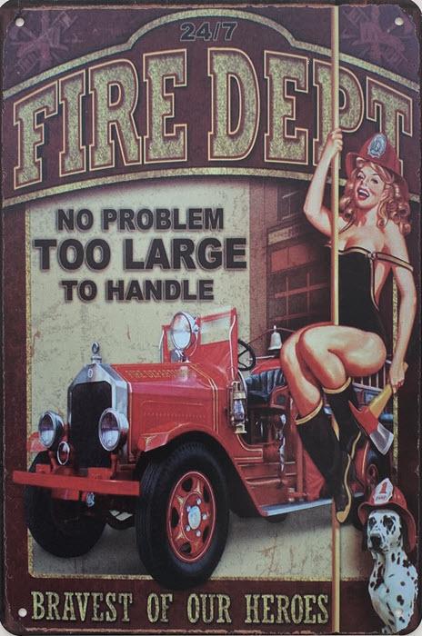 Retro metalen bord vlak - Fire dept