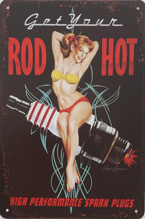 Retro metalen bord vlak - Get Your rod hot