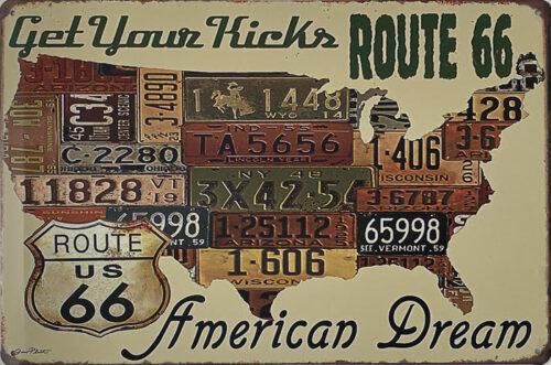 Retro metalen bord vlak - Get your kicks Route 66