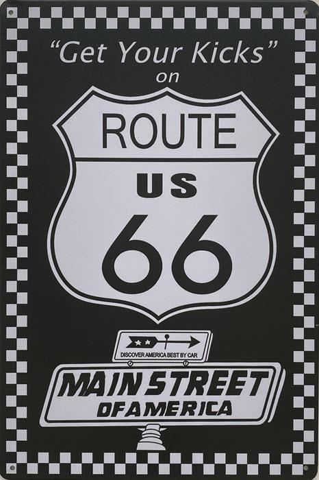 Retro metalen bord vlak - Gets your kicks on Route US 66