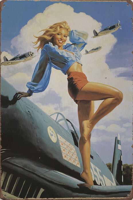 Retro metalen bord vlak - Girl on plane