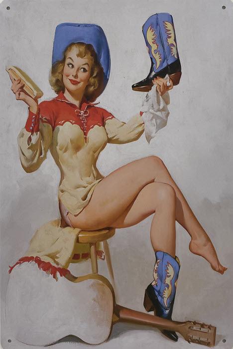 Retro metalen bord vlak - Girl with boots