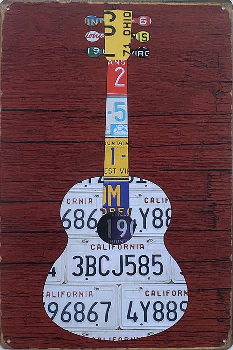 Retro metalen bord vlak - Guitar