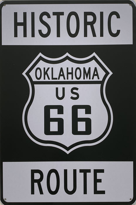 Retro metalen bord vlak - Historic Oklahoma US 66 Route