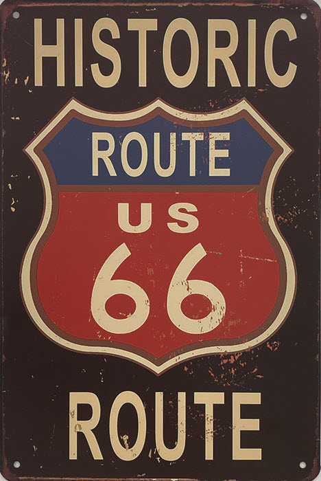 Retro metalen bord vlak - Historic Route US 66 Route