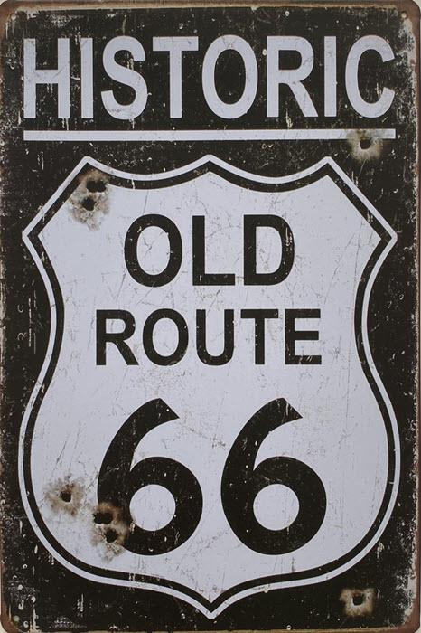 Retro metalen bord vlak - Historic old Route 66
