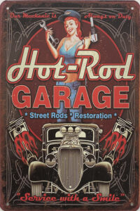 Retro metalen bord vlak - Hot-rod garage