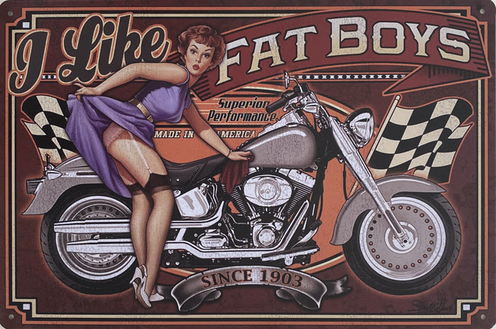 Retro metalen bord vlak - I like fat boys
