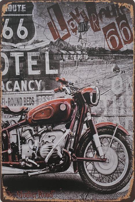 Retro metalen bord vlak - I love Route 66