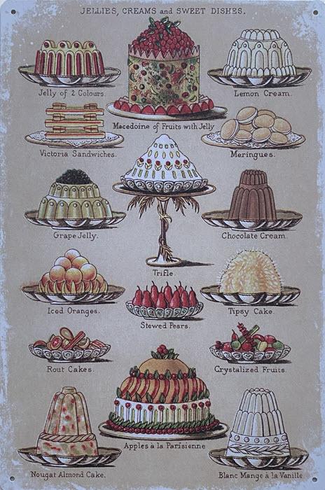 Retro metalen bord vlak - Jellies, creams and sweet dishes