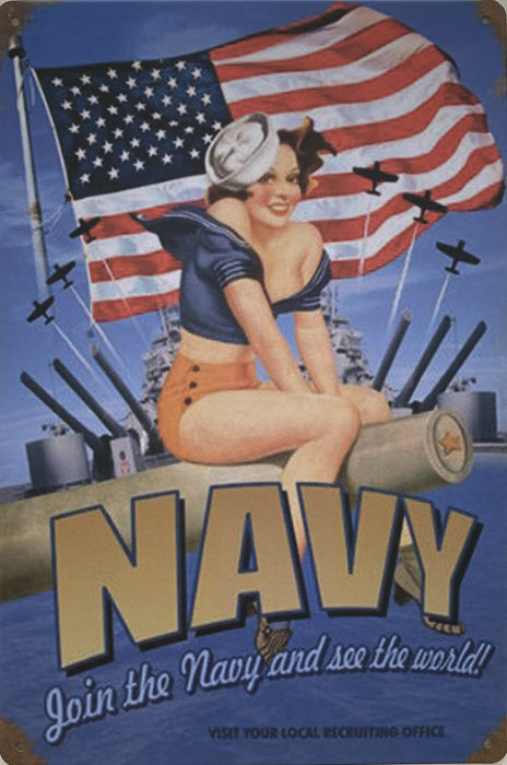 Retro metalen bord vlak - Join the Navy and see the world