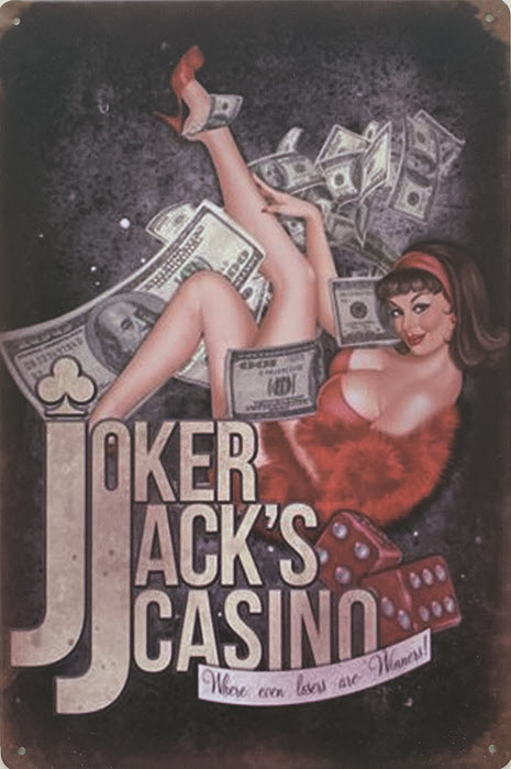 Retro metalen bord vlak - Joker Jack's casino