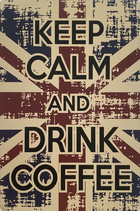 Retro metalen bord vlak - Keep calm and drink coffee