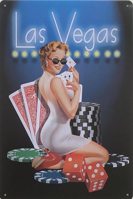 Retro metalen bord vlak - Las Vegas