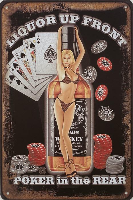Retro metalen bord vlak - Liquor up front - poker in the rear