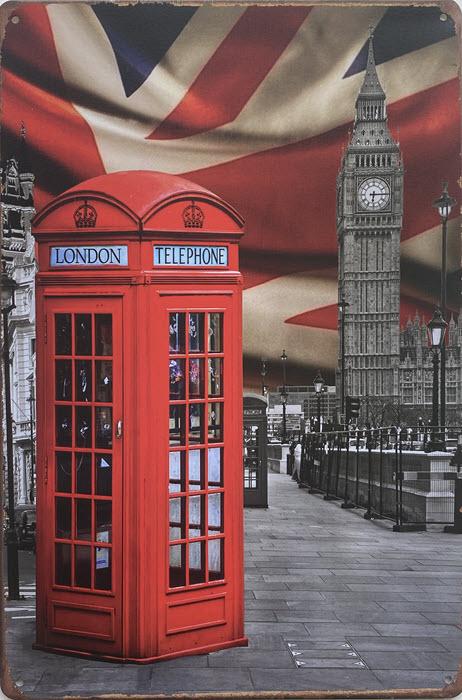 Retro metalen bord vlak - London telephone