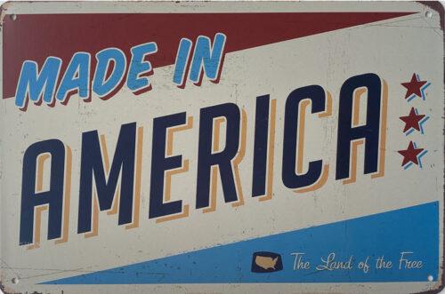 Retro metalen bord vlak - Made in America
