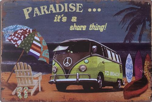 Retro metalen bord vlak - Paradise it's a shore thing
