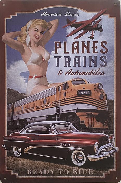 Retro metalen bord vlak - Planes trains & automobiles