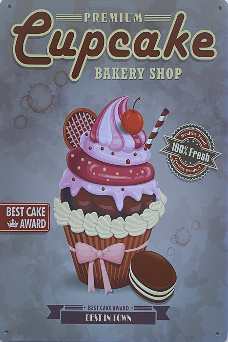 Retro metalen bord vlak - Premium cupcake bakery shop