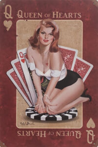 Retro metalen bord vlak - Queen of hearts