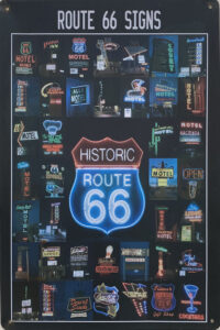 Retro metalen bord vlak - Route 66 signs
