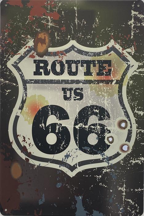 Retro metalen bord vlak - Route US 66 2