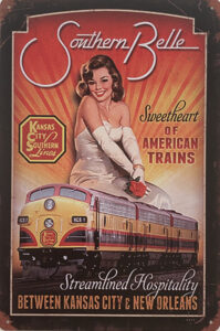Retro metalen bord vlak - Sweetheart of American trains