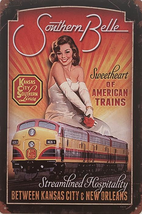 Retro metalen bord vlak - Sweetheart of American trains