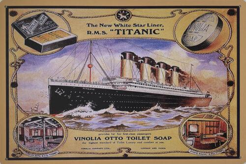 Retro metalen bord vlak - The new white star line Titanic