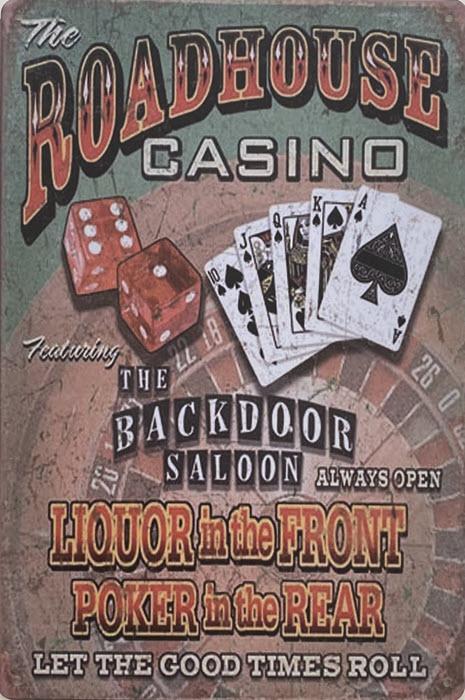Retro metalen bord vlak - The roadhouse casino