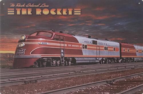 Retro metalen bord vlak - The rocket
