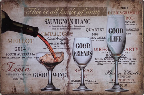 Retro metalen bord vlak - This is all kinds of wine