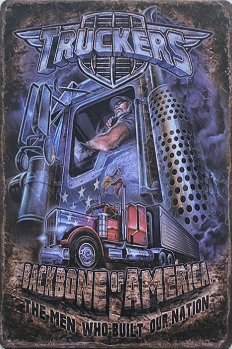 Retro metalen bord vlak - Truckers backbone of America