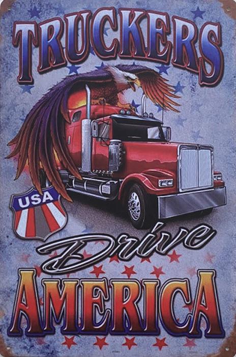 Retro metalen bord vlak - Truckers drive America