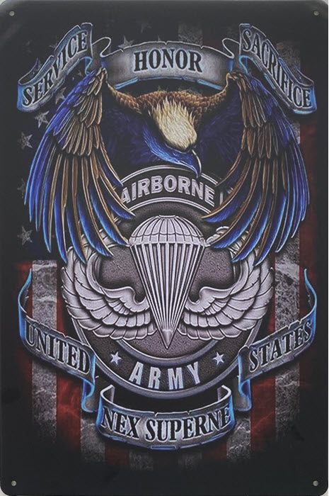 Retro metalen bord vlak - United States army