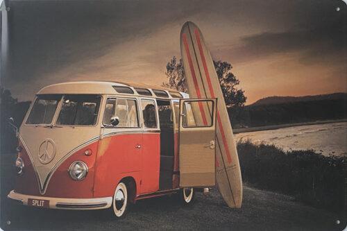 Retro metalen bord vlak - Volkswagen busje