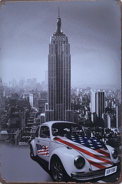 Retro metalen bord vlak - Volkswagen in New York
