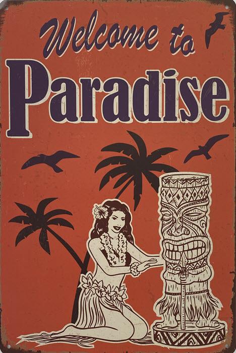 Retro metalen bord vlak - Welcome to paradise