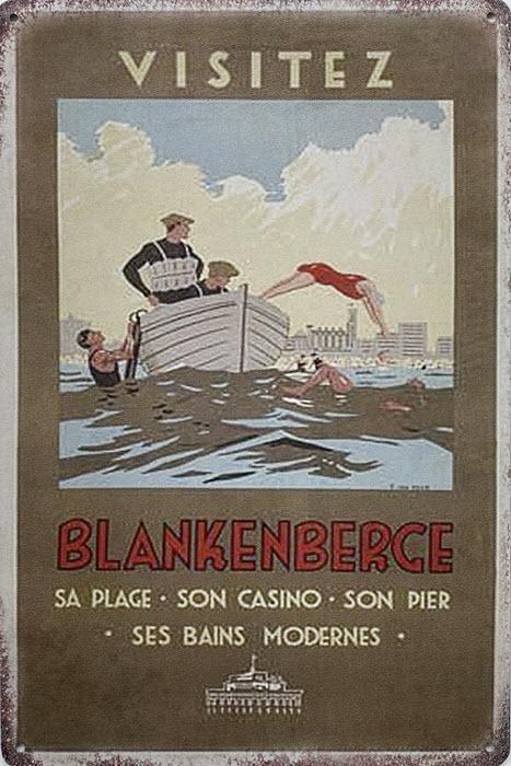 Retro metalen bord limited edition - Blankenberge