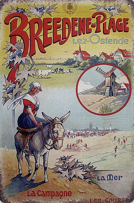 Retro metalen bord limited edition - Breedene-plage