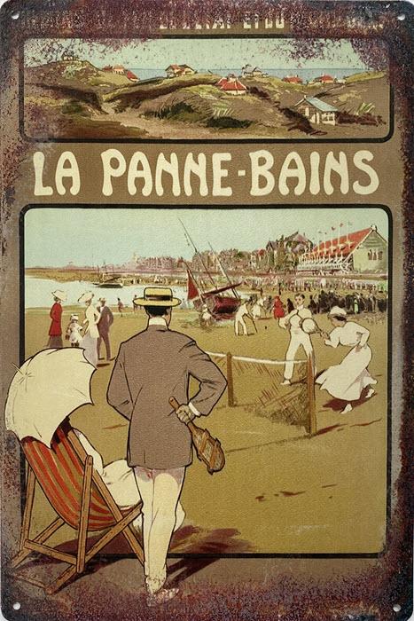 Retro metalen bord limited edition - La Panne-bains 2